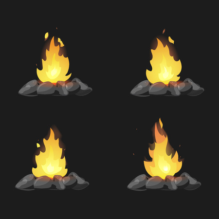 Set of cartoon Bonfires with stones on black background isolated vector illustration. Camping fire evolution