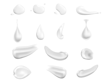 White cream elements: a drop, a splash, smear, squeezed cream. Illustration isolated on white background.