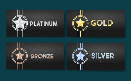 Set of black banners with different stars, medal, achievement.