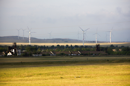 alternative energy, wind farms stand in the field