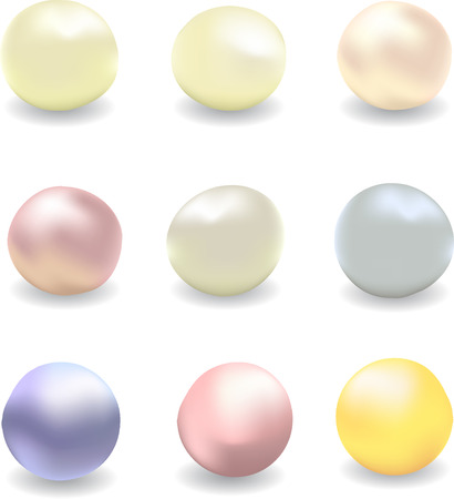 vector set of pearls of different colors, white pearls, river pearls