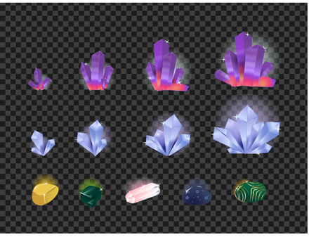 Vector set of gems, gemstone, crystals isolated on a transparent background. Crystals evolution from small to large Çizim