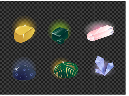 Vector set of gems, gemstone isolated on a transparent background. Çizim