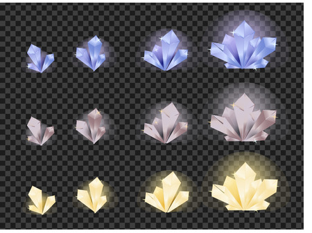 Vector set of different type glowing, colorful crystals isolated on a transparent background. Crystals evolution from small to large