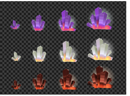 Set of different type glowing and colorful crystals