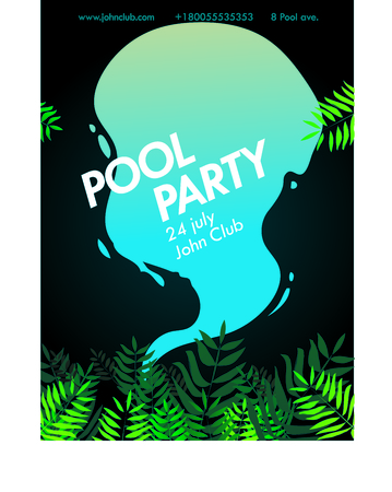 poster of party at the pool with tropical leaves on a dark background and splashing water Çizim