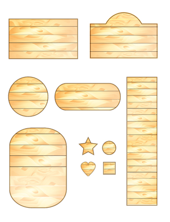set of vector wooden plaques with different shapes