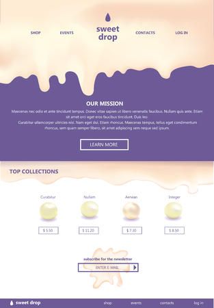 web site template with Flowing drops of milk syrup cream on violet background Çizim
