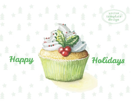 Watercolor cake sweetness cupcake for the new year and happy Christmas, on the background of the Christmas pattern of Christmas trees, happy holidays Çizim