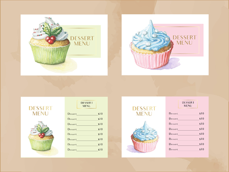 dessert menu template set with watercolor cupcakes