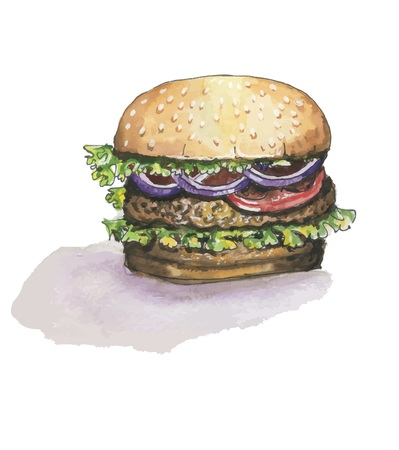 Vector watercolor burger on white background with shadow