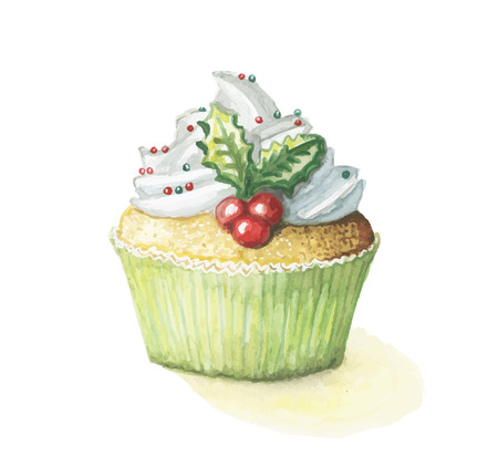 Watercolor cake sweetness cupcake and happy Christmas with mistletoe for the new year Çizim