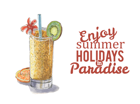 Watercolor cocktail with tubule and oranges and the words enjoy summer holidays in paradise