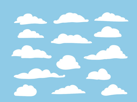 White clouds on sky background vector set
