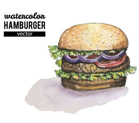 Watercolor burger isolated on white Çizim