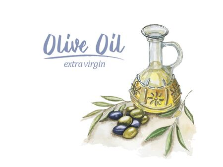 Watercolor olive oil