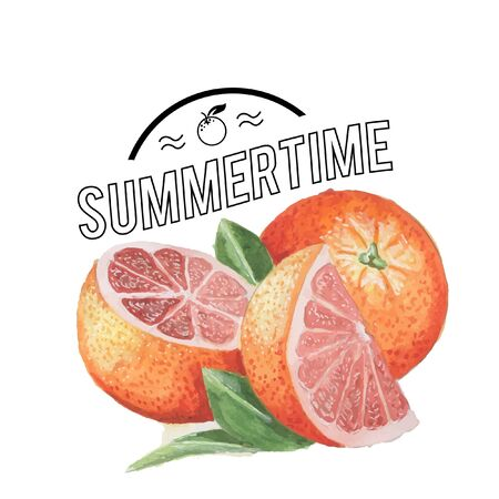 Watercolor orange summer poster with typography