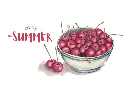 Watercolor cherry summer poster with typography