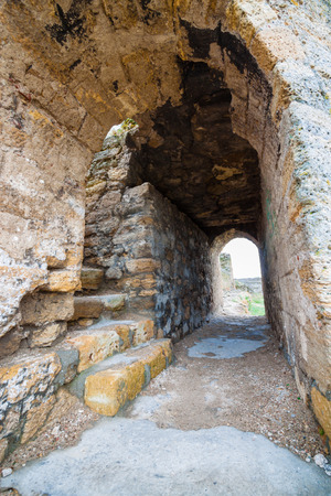 corridors: Stone corridors in the ruins of an ancient fortress