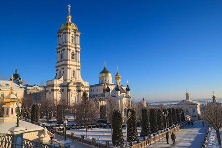 lavra: Belfry Pochayiv Lavra on a clear winter day, Ukraine