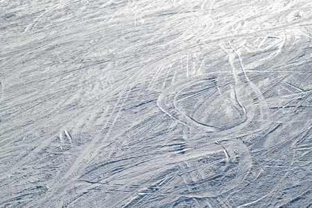 ski traces: skiing traces on ski slopes from above