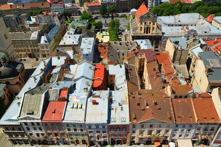 lemberg: Old city summer roofs in Lviv Ukraine. Top view. Stock Photo