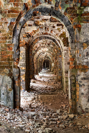 ancient pass: Ruins  inside the fort Tarakanovskiy. Arches. Dubno. Ukraine Stock Photo
