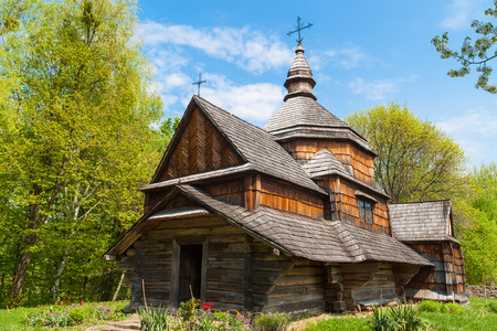 pirogovo: Old wooden Orthodox church in the woods. Museum of Folk Art in the Pirogovo. Kiev. Ukraine.