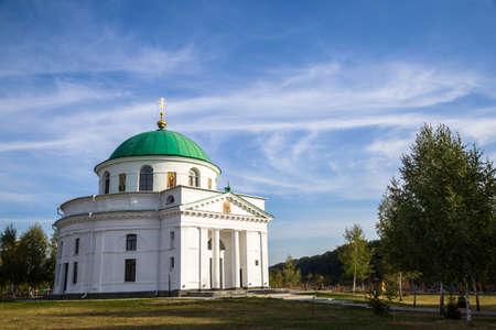 nicholas: Old Orthodox Church of St. Nicholas on  blue cloudy sky. Dykanka. Poltava. Ukraine. Stock Photo