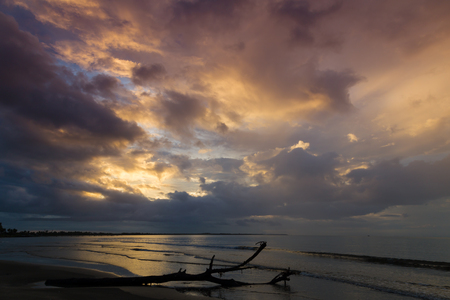 illuminated: Dramatic sunset on the ocean. Clouds illuminated by sun .Fiji.