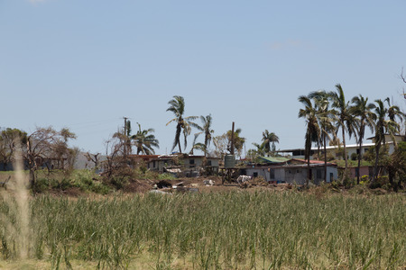 winston: Destruction caused by tropical cyclone Winston. Island  Viti Levu, Fiji in February, 2016 Stock Photo