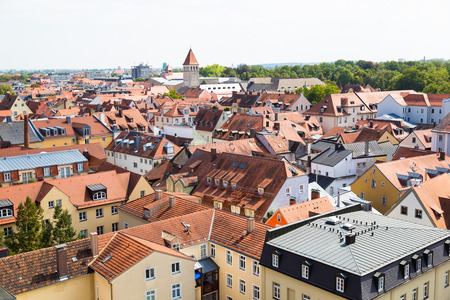 regensburg: Historic city Regensburg. Germany. Top view on  roofs of houses with town hall