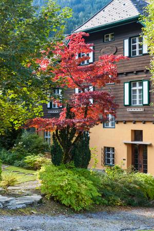 house facade with an autumn garden on background of mountains. Alps. Austria.