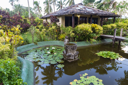 Tropical paradise - bungalows near the ornamental pond with white water lilies, surrounded by tropical plants and wooden bridges. Fiji Islands.