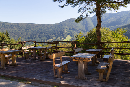 Resting place with  viewing platform with mountain view, covered with forest. Little Fatra Mountains - Slovakia