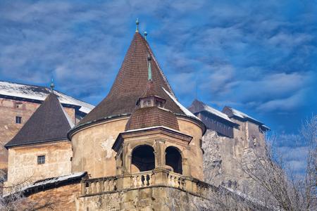 nosferatu: Famous Orava Castle ( Oravsky hrad ) on background of beautiful  cloudy sky. Tower closeup.  Orava Podzámok. National Monument of Culture of Slovakia. Travel destination for vacations  Stock Photo
