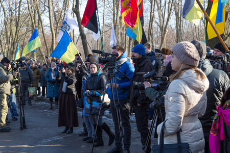 January 22, 2017: Ukraine. City Dnipro (Dnipropetrovsk). Celebration of  Day of Unification of Ukraine - the reunification of Ukrainian and Western Ukrainian Peoples Republic. Opening of the memorial sign. The concept of the unity and independence of the Editorial