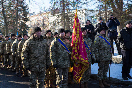 January 22, 2017: Ukraine. City Dnipro (Dnipropetrovsk). Celebration of  Day of Unification of Ukraine - the reunification of Ukrainian and Western Ukrainian Peoples Republic. Opening of the memorial sign. Parade of  National Guard. Concept of the unity