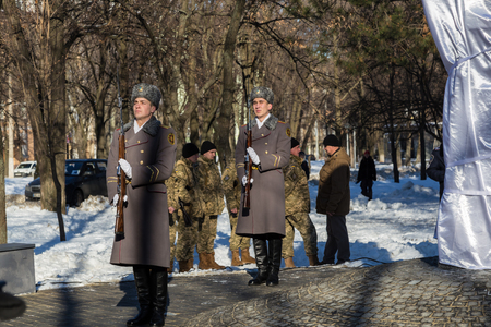 January 22, 2017: Ukraine. City Dnipro (Dnipropetrovsk). Celebration of  Day of Unification of Ukraine - the reunification of Ukrainian and Western Ukrainian Peoples Republic. Opening of the memorial sign. Guard of honor. Concept of the unity and indepen Editorial