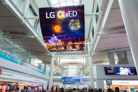 21 februari, 2016: Zuid-Korea, de Internationale Luchthaven van Incheon, passagiersterminal, mening binnen.