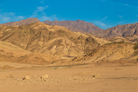 Sinai mountains and desert on a bright day against the blue sky. Egypt landscape Stock Photo