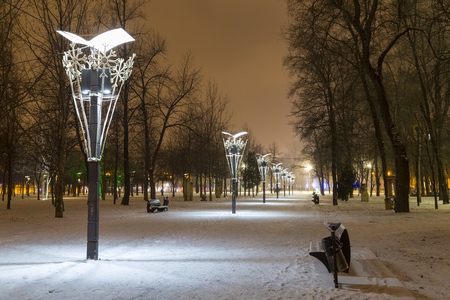 Winter in the city. Night snowbound city.  Road in the park, covered with snow, illuminated by lights. Dnipro. Ukraine