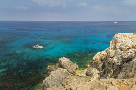 Seascape with rocks , shore of the Mediterranean Sea. Coast of Cyprus, Ayia Napa.