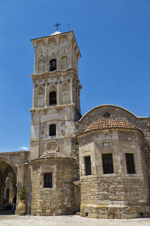 Ancient church of Saint Lazarus: exterior, general view against the blue sky. Orthodox church in Cyprus. Larnaca. Tourist attraction