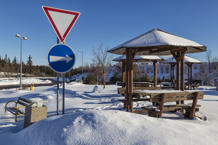 Modern rest station in the  parking lot covered with snow on the autobahn. Highway in Slovakia