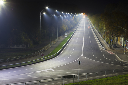Chernigov ( Chernigiv)  city. Ukraine. Lighted night highway