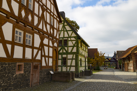 Hessenpark - open-air museum, showcases ancient half-timbered buildings from the land of Hesse. Germany. Stone street. Popular family destination , tourism, travel, tourist attraction