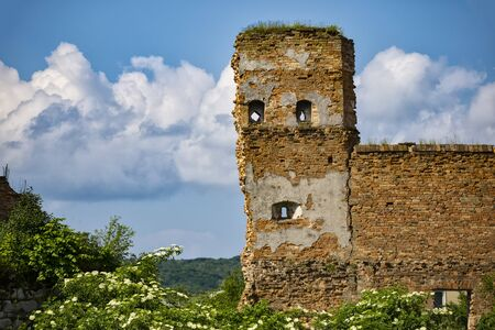 Ancient ruins of Stare Selo castle, brick wall  against the blue cloudy sky. Fortress in Stare Selo, Lviv region. Ukraine. Tourist destination, landmark Banco de Imagens
