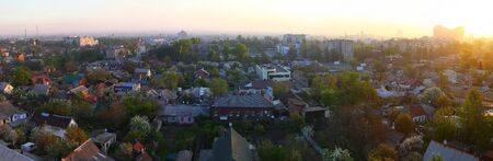 Panorama of residential areas of the  Dnipro city in the early morning at sunrise. Top view, aerial photo. Ukraine Banco de Imagens