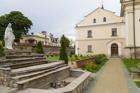Old Dominican Monastery , church of St. Josaphat,  courtyard. Ancient historical city  Zhovkva,  Lviv region, western Ukraine. Tourism destination, torist landmark